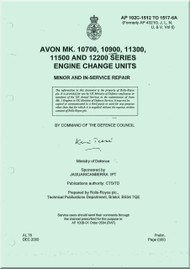 Rolls Royce Avon Mk 10700, 10900, 11300, 11500 Aircraft Engine Change Unit Manual - AP 102C-1512  to 1517-6A  Minor and in Service Repair