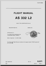 Aerospatiale AS 332 L2  Super Puma  Helicopter Complementary Flight Manual  ( English Language )