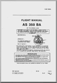 Aerospatiale AS 350 BA Helicopter  Flight Manual  ( English Language )