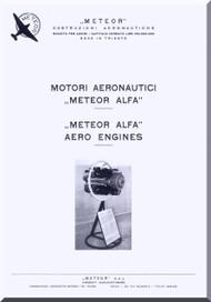 Alfa Romeo Meteor Alfa Aircraft Engine Instruction Manual  ( Italian English Language ) - 1960