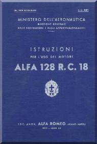 Alfa Romeo 128 R. C. 18 Aircraft Engine Instruction Manual  ( Italian Language )
