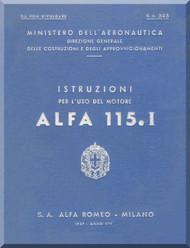 Alfa Romeo 115.I Aircraft Engine Instruction Manual - 1937