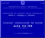 Alfa Romeo 115 TER Aircraft Engine Illustrated Parts Catalog  Manual  ( Italian Language )