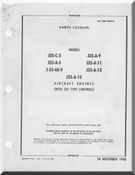 Allison / General Electric  J-35-C-3 , - A-5 -GE-9 -A9 -A11 -A-13   - Aircraft Engine Parts Catalog  Manual - AN 02B-105CB-4 - 1948 ( English Language)