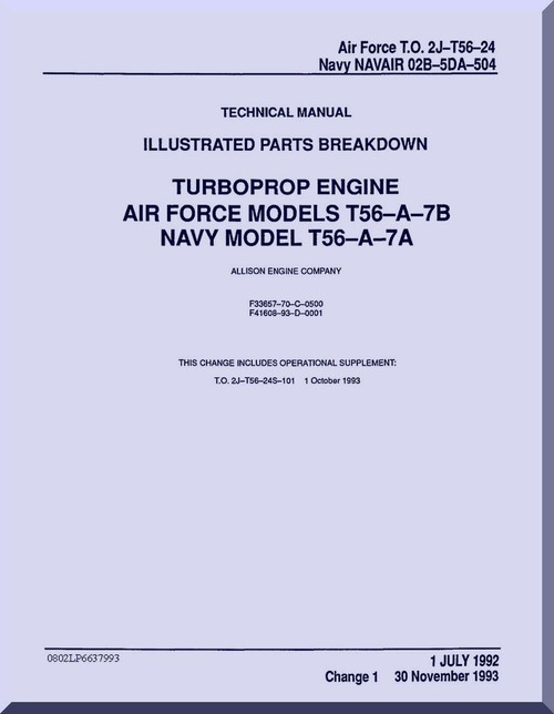 Allison T56-A-7B Aircraft Engine Illustrated Parts Breakdown ...