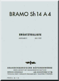 Siemens Bramo Sh 14 A4   Engine Illustrated Parts Catalog   Manual (  Ersatzteilliste ), (German Language )