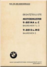 Bayerische Motorenwerke - BMW  Aircraft Engine Parts Catalog Manual  ( German Language ) - Ersatzteilliste