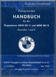 Bayerische Motorenwerke - BMW  801 C D Aircraft Engine  Handbook  Manual  ( German Language ) -