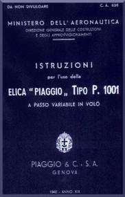 Piaggio P.1001 Aircraft Propeller Instruction Manual - Elica -