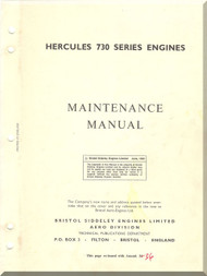 Bristol Hercules 730  Aircraft Engine Maintenance Manual  ( English Language )