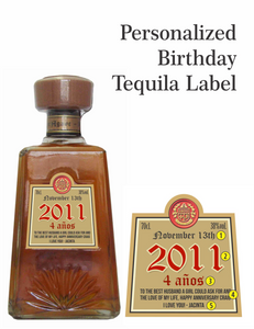 Personalized Tequila Gold Foil Labels (1800 Tequila)