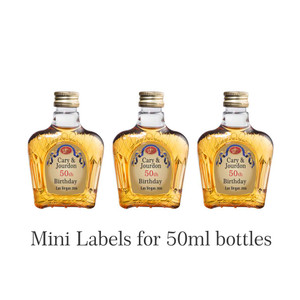 Personalized Mini 50 ml. Whisky Gold Labels (Crown Royal Style)