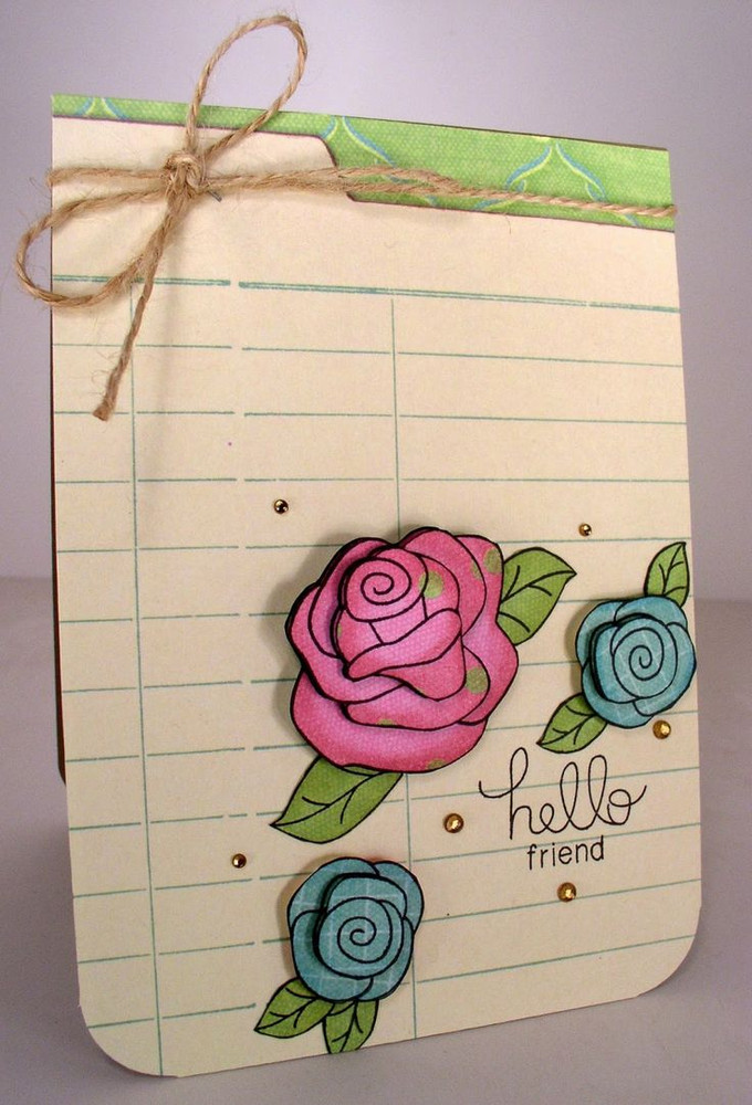 Hello Friend Rose Card | Love Grows stamp set by Newton's Nook Designs.