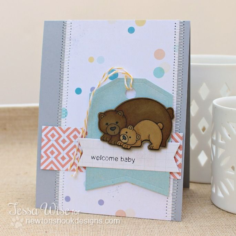 Bear and cub card Baby card  | Wild Child stamp set by Newton's Nook Designs