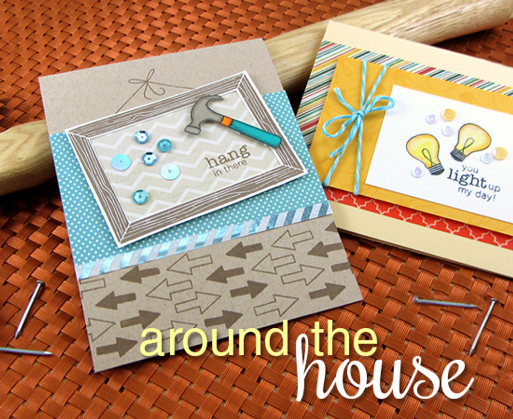 Hammer and Lightbulb cards using Around the House Stamp set | Newton's Nook Designs