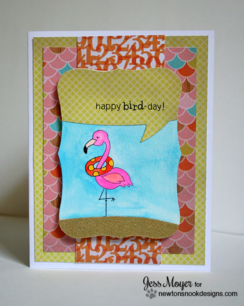 Tropical flamingo Birthday card | Flirty Flamingos stamp set by Newton's Nook Designs