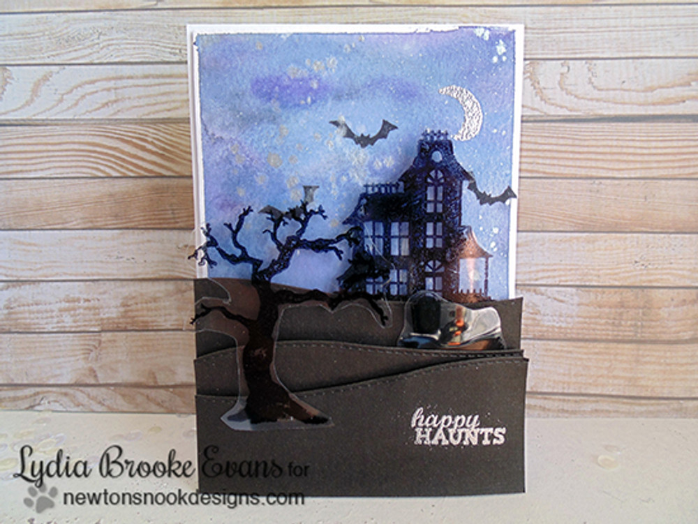 Haunted House and Card | Spooky Street | 4x6 photopolymer Stamp Set | Newton's Nook Designs
