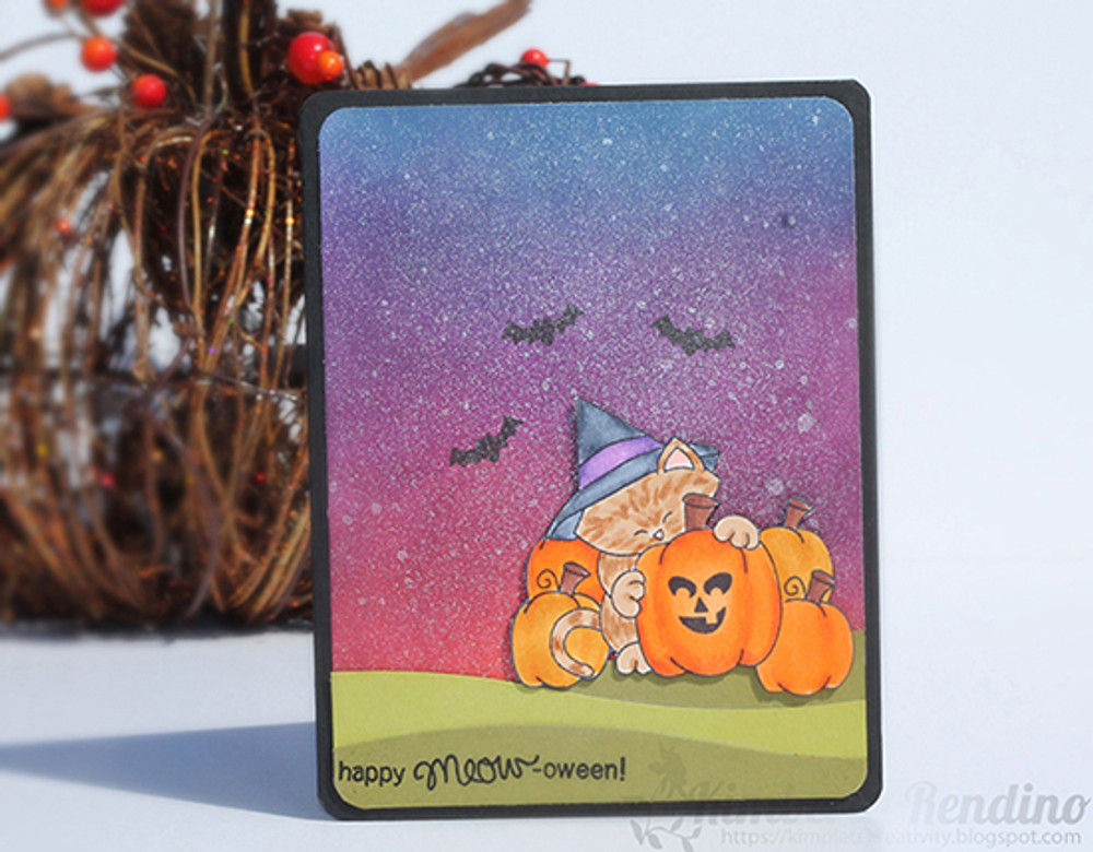 Halloween Cat and Pumpkin Card with Distress Inks | Newton's Perfect Pumpkin | 3x4 photopolymer Stamp Set | Newton's Nook Designs