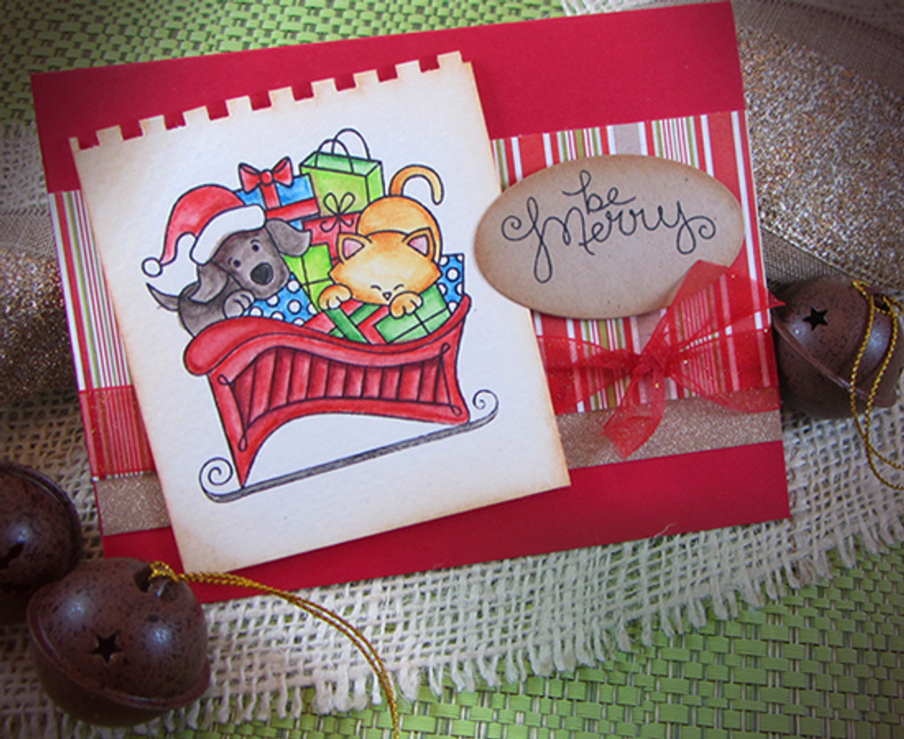 Dog and Cat Be Merry Card   Christmas Delivery   3x4 photopolymer Stamp Set   Newton's Nook Designs