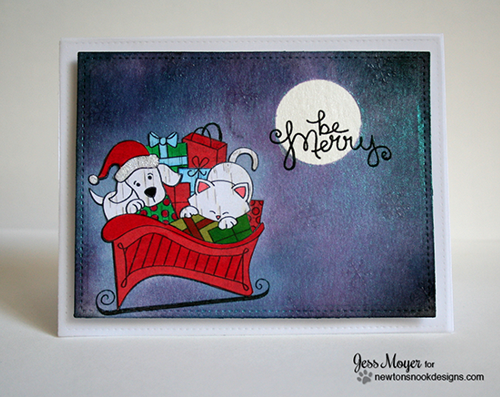 Dog and Cat Christmas Card   Christmas Delivery   3x4 photopolymer Stamp Set   Newton's Nook Designs