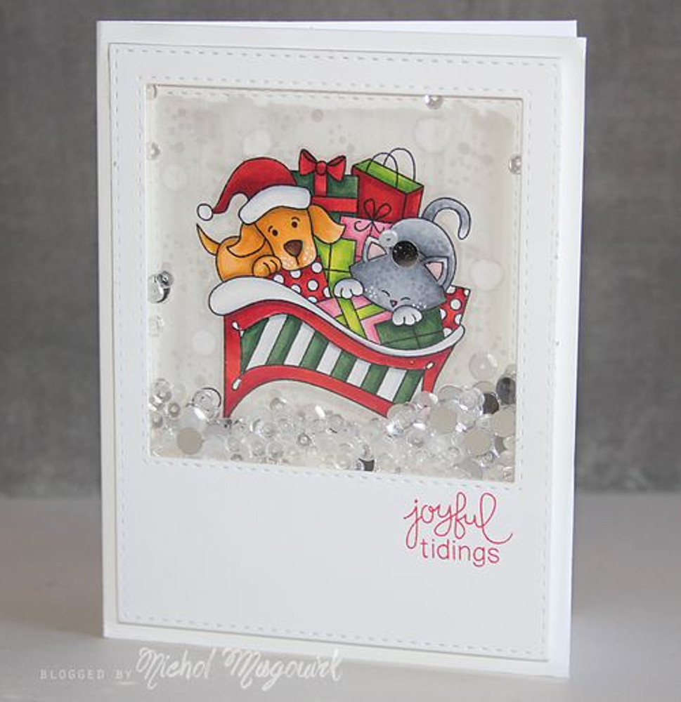 Dog and Cat Sleigh Card   Christmas Delivery   3x4 photopolymer Stamp Set   Newton's Nook Designs