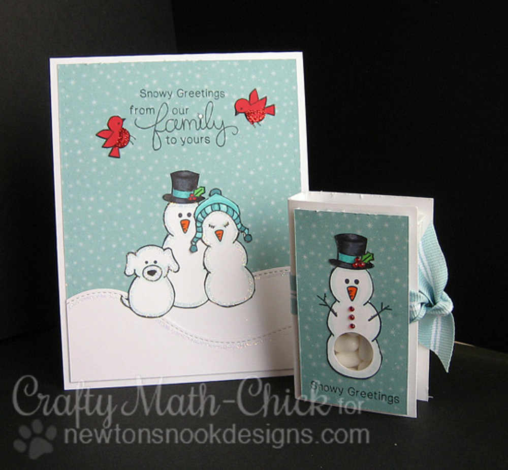 Winter Snowman Family Card and Tic Tac holder | Flaky Family | 4x6 photopolymer Stamp Set | Newton's Nook Designs