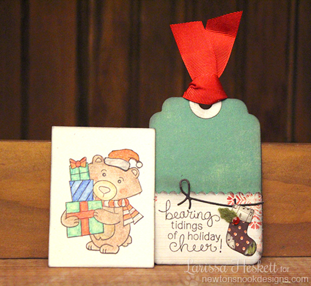 Bear with gifts Christmas Tag with Insert | Winston's Home For Christmas | 4x6 photopolymer Stamp Set | Newton's Nook Designs