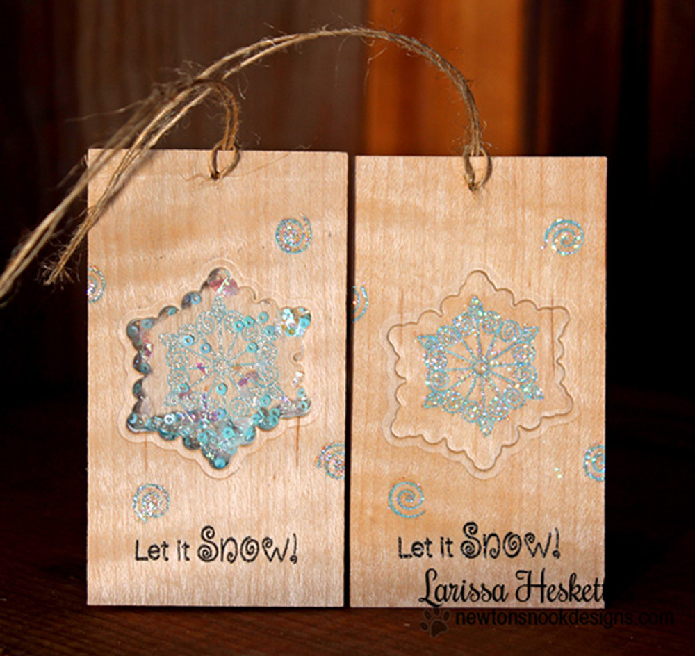 Snowflake Tags | Winter Tails | 4x6 photopolymer Stamp Set | Newton's Nook Designs