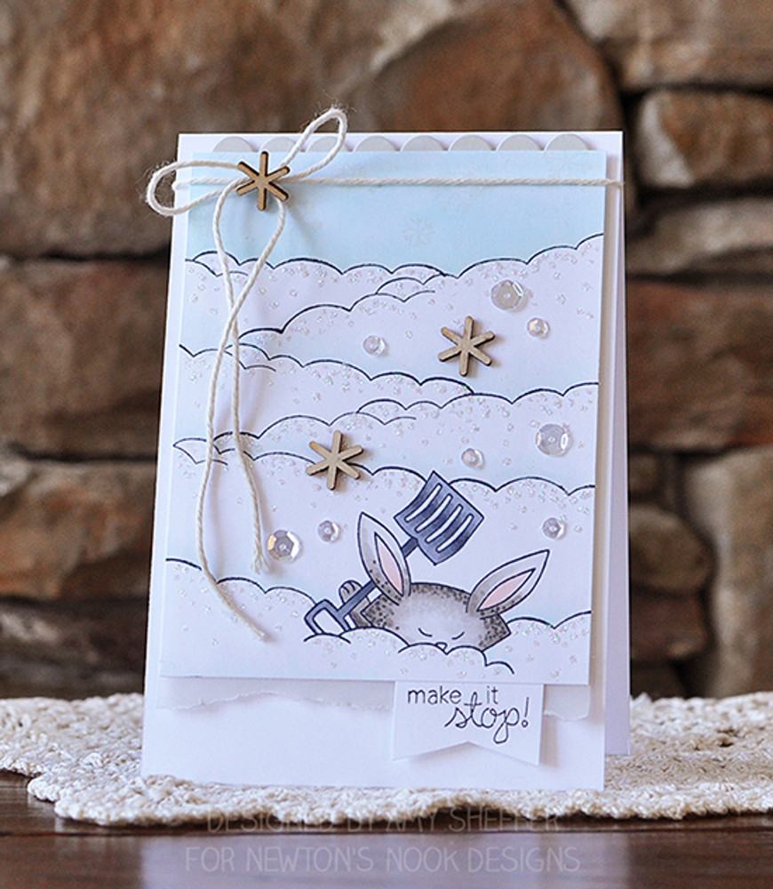 Bunny with Shovel Winter Card | Winter Tails | 4x6 photopolymer stamp set | Newton's Nook Designs