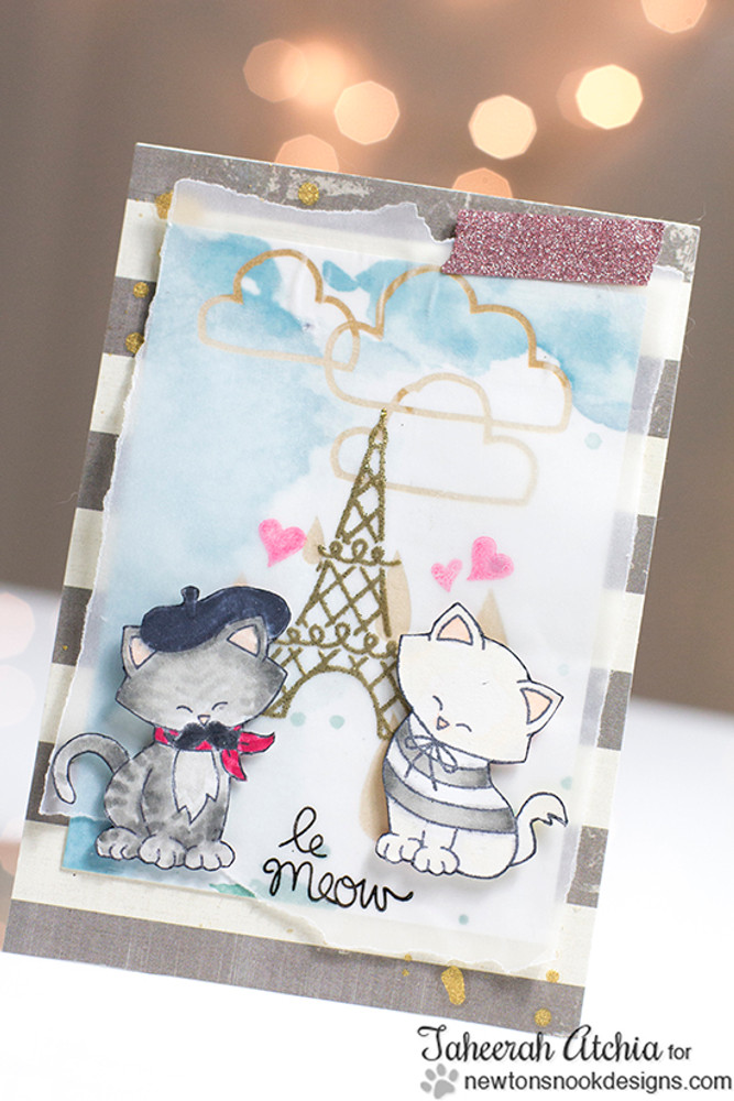Cats in Paris Card | Newton Dreams of Paris | 4x6 photopolymer Stamp Set | Newton's Nook Designs