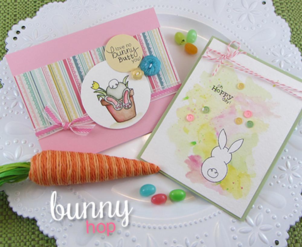 Bunny Spring Cards | Bunny Hop | 3x4 photopolymer Stamp Set | Newton's Nook Designs
