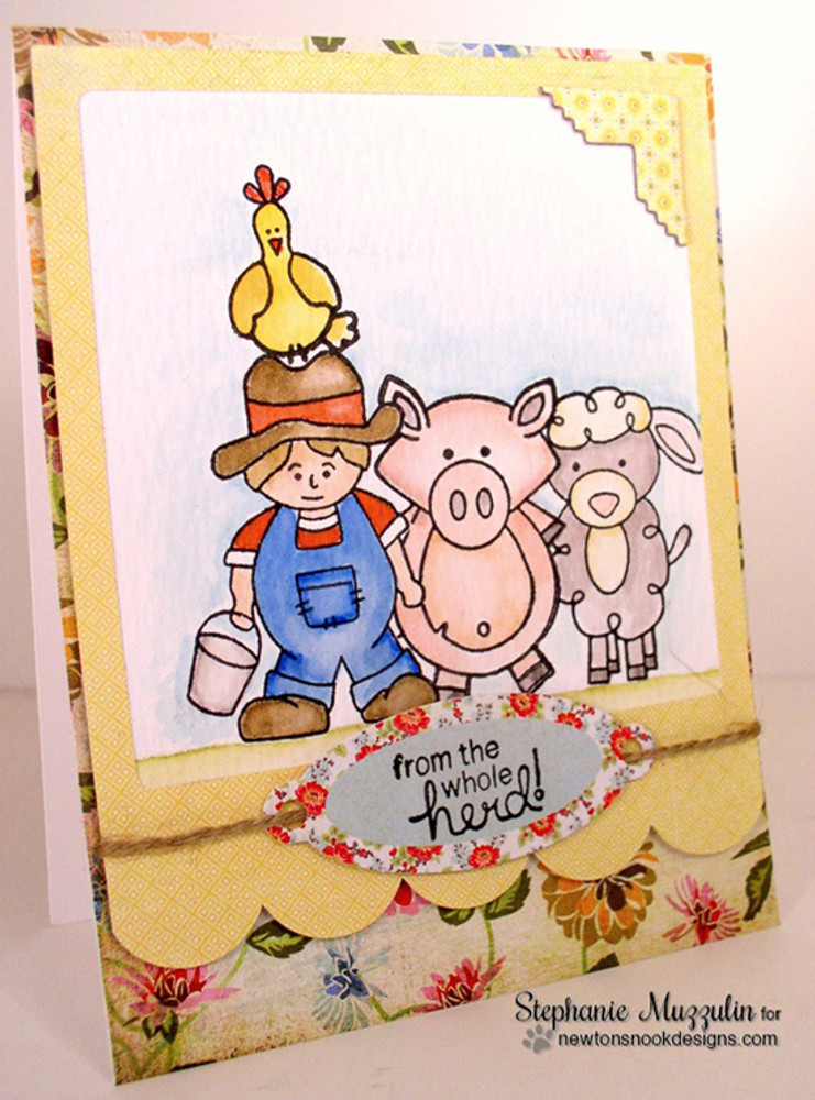 Friendship Farm Card | Farmyard Friends | 4x6 photopolymer Stamp Set | Newton's Nook Designs