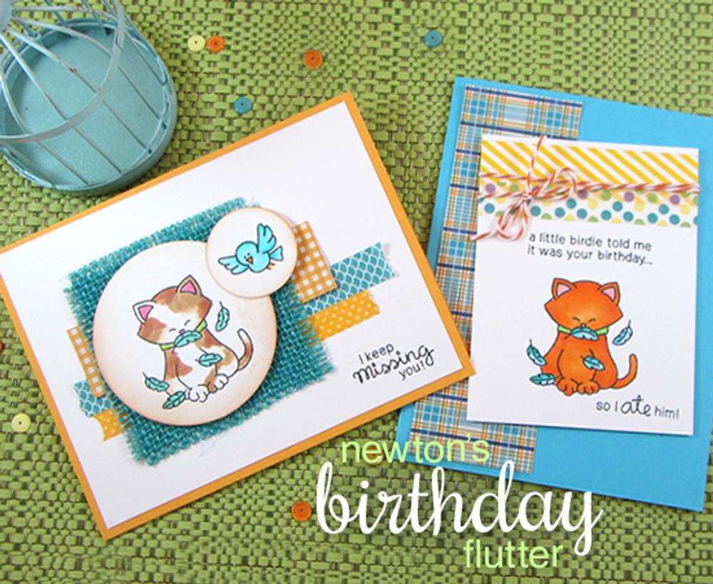 Newton's Birthday Flutter | 3x4 Photopolymer Stamp Set | Newton's Nook Designs
