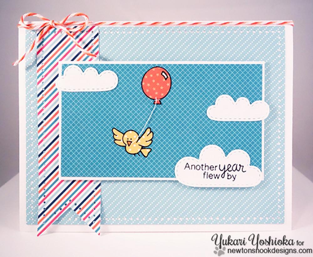 Birthday Bird Card | Newton's Birthday Flutter | 3x4 photopolymer Stamp Set | Newton's Nook Designs