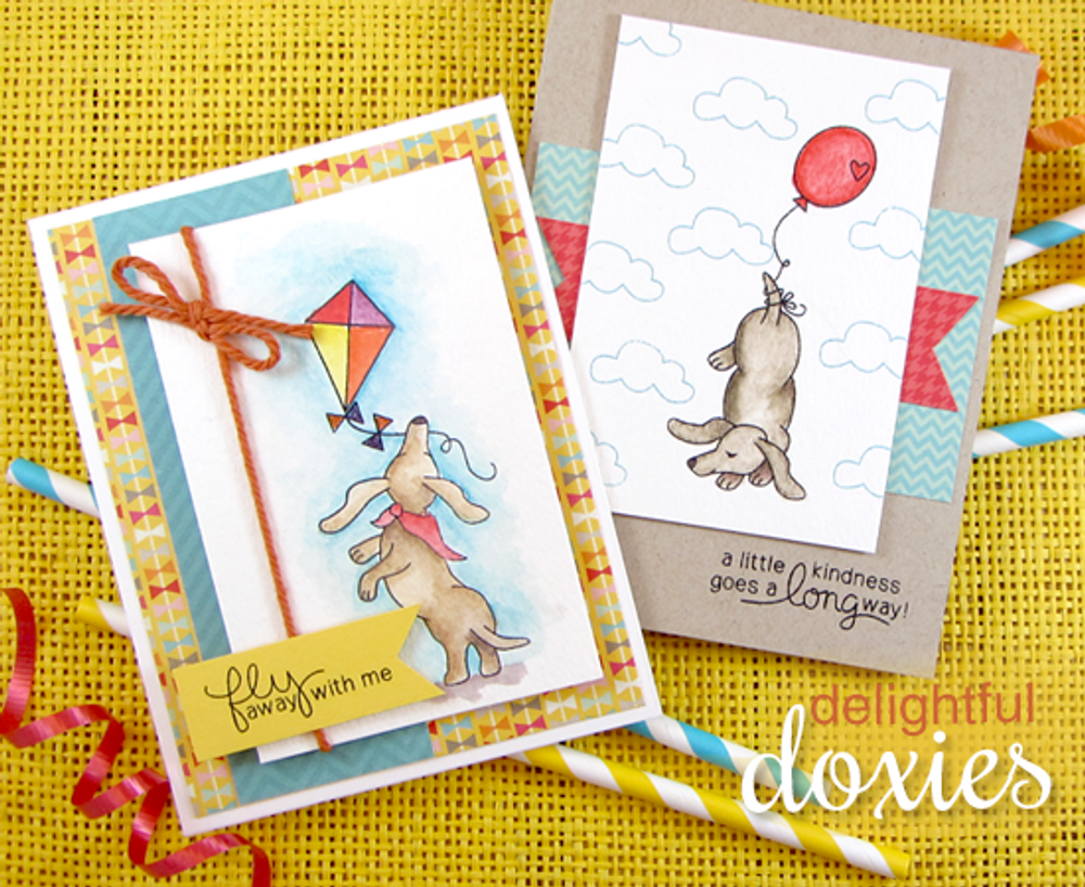 Dachshund Friendship Cards | Delightful Doxies | 4x6 photopolymer Stamp Set | Newton's Nook Designs