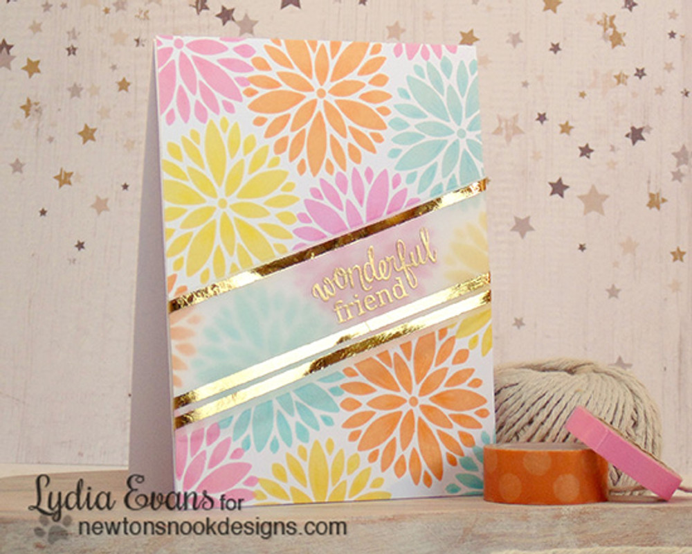 Friendship Flower Card | Fanciful Florals | 4x6 photopolymer Stamp Set | Newton's Nook Designs