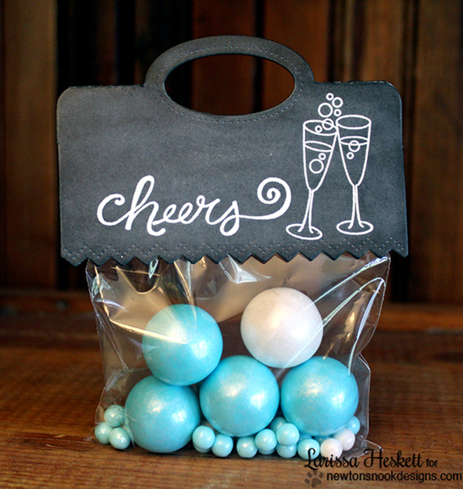 Cheers party gift bag   Years of Cheers   3x4 photopolymer Stamp Set   Newton's Nook Designs