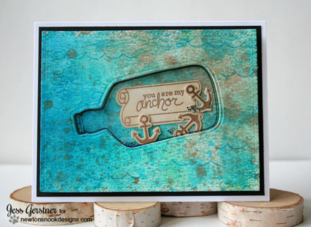 Bottle and Anchor Shaker Card | Message In A Bottle Stamp Set by Newton's Nook Designs