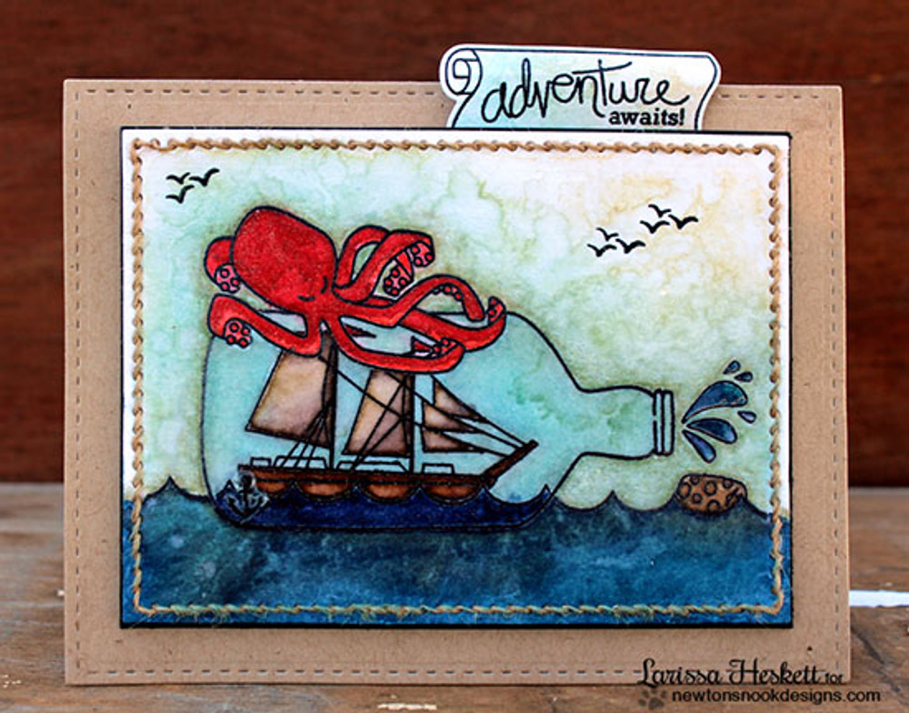Ship in a bottle card | Message In A Bottle Stamp Set by Newton's Nook Designs