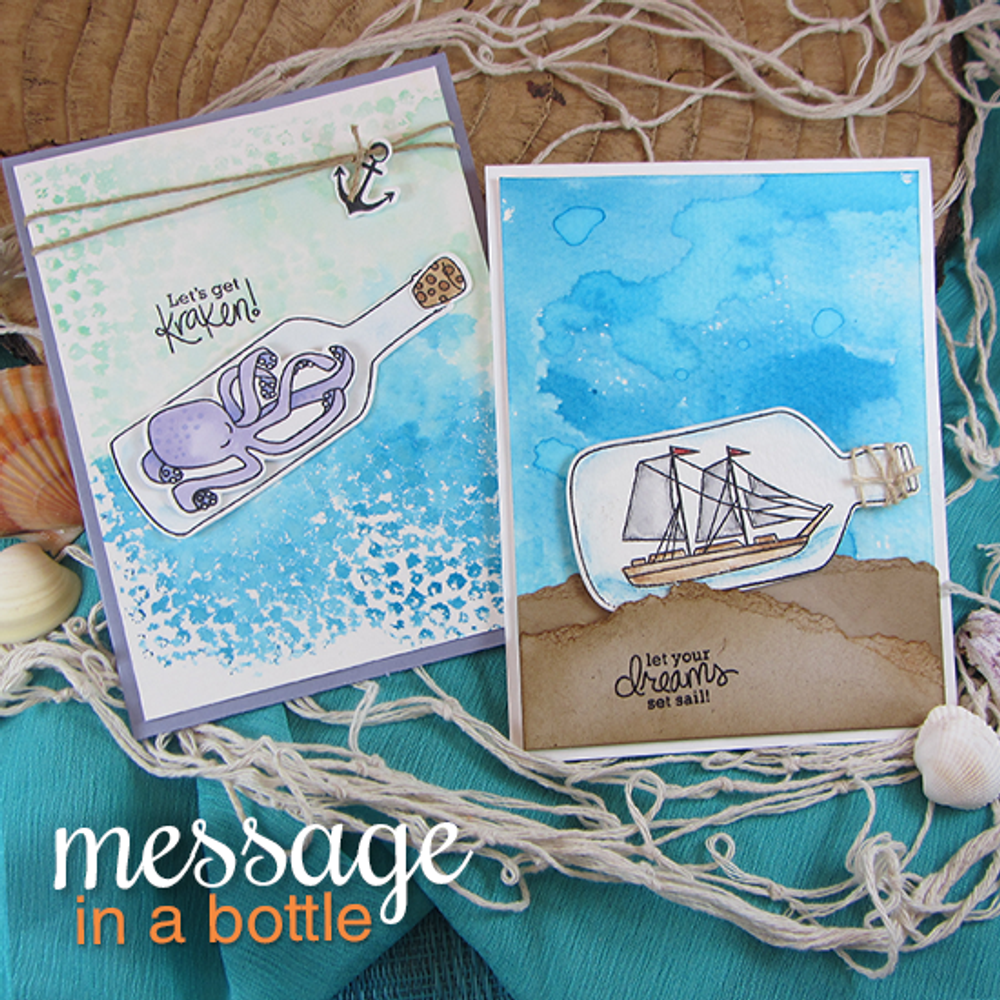 Kraken and Ship in a bottle cards | Message In A Bottle Stamp Set by Newton's Nook Designs