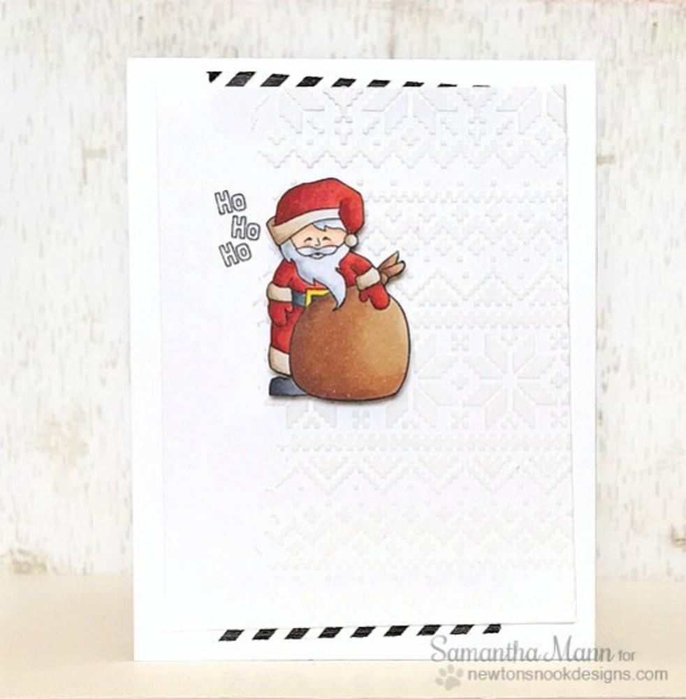 Santa Card | Jolly Tags | 4x6 Photopolymer Stamp Set | Newton's Nook Designs
