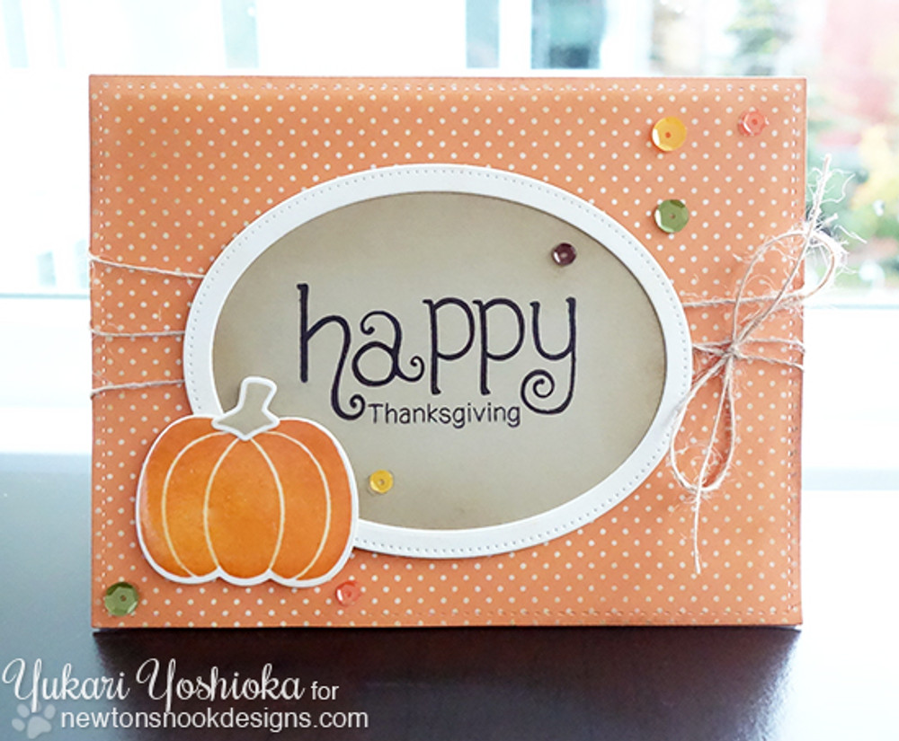 Happy Thanksgiving Card | Simply Seasonal | 4x6 Photopolymer Stamp Set | Newton's Nook Designs