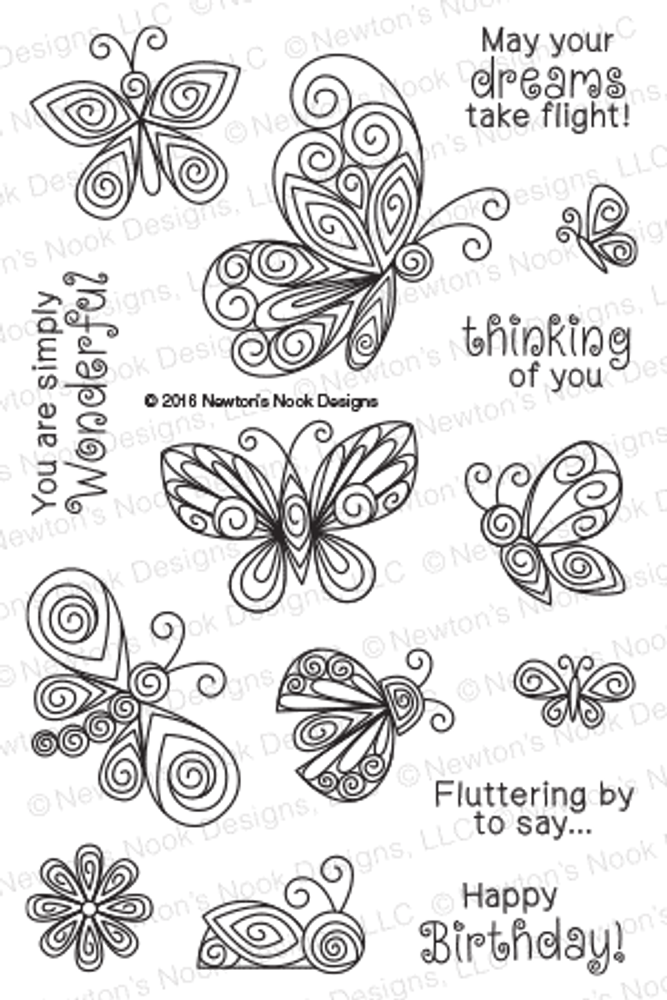 Beautiful Wings Stamp Set by Newton's Nook Designs