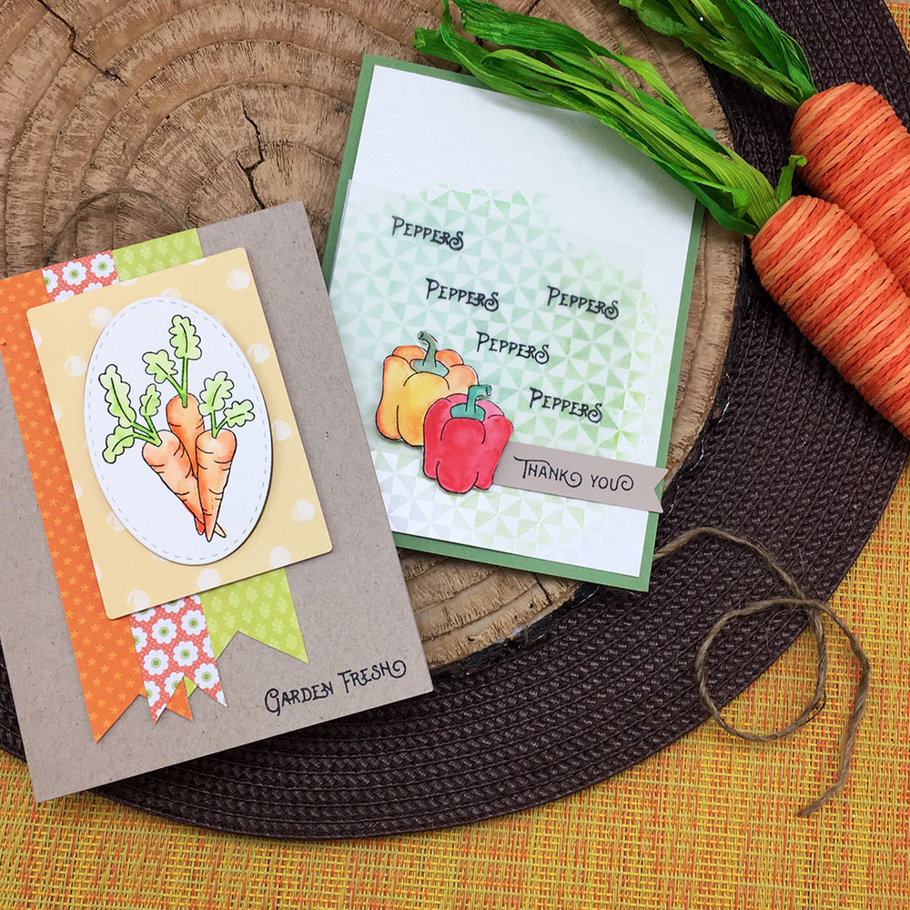 Vegetable cards using Vegetable Garden Stamp Set by Newton's Nook Designs