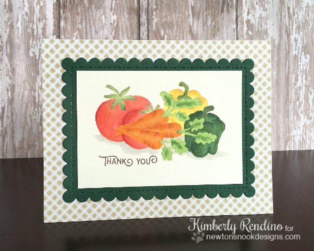 No-Line Coloring Vegetable card using Vegetable Garden Stamp Set by Newton's Nook Designs