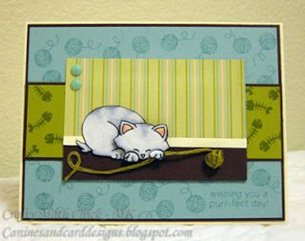 Cat Card with Yarn | Newton's Antics Stamp set by Newton's Nook Designs