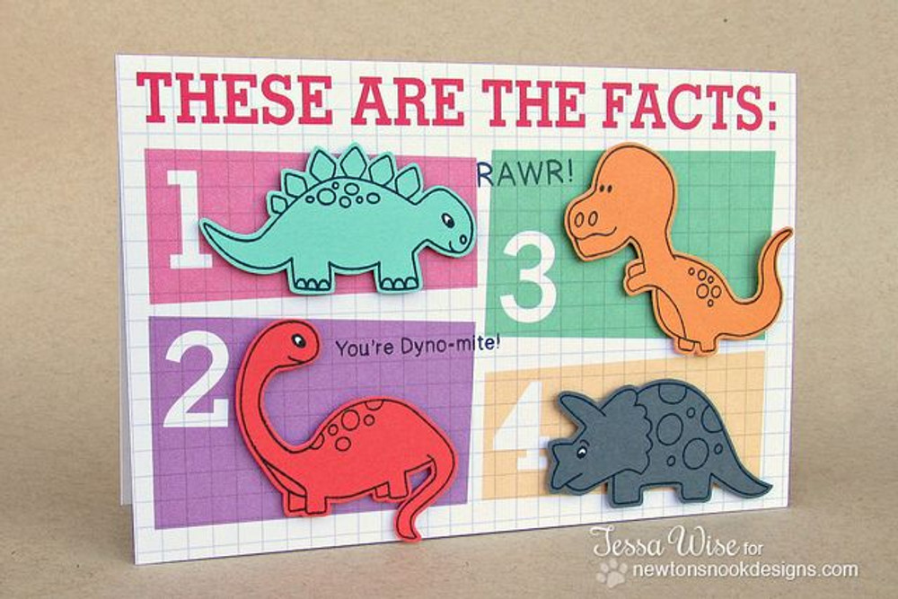 Dinosaur card using Prehistoric Pals Stamp Set by Newton's Nook Designs