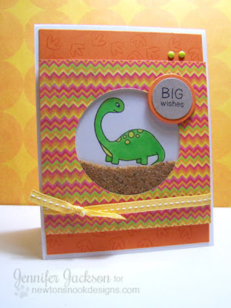 Dinosaur Shaker Card using Prehistoric Pals Stamp Set by Newton's Nook Designs