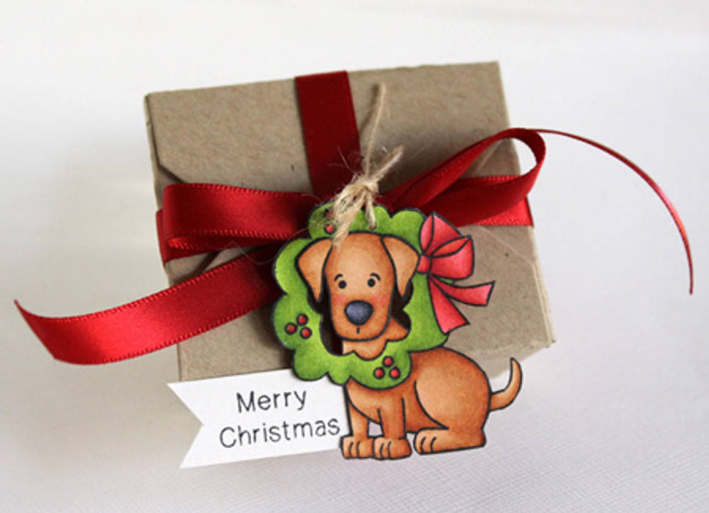 Dog Gift Tag using Canine Christmas Stamp Set by Newton's Nook Designs