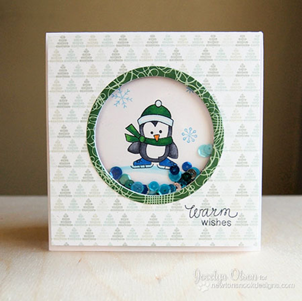 Penguin Shaker Card using Snow Day Stamp Set by Newton's Nook Designs